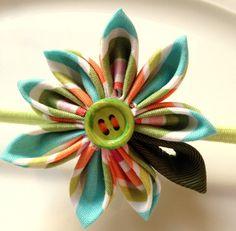 Citrus striped cotton kanzashi flower headband / by ImwtheBand