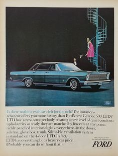 1965 Ford Galaxie 500 LTD Vintage Ad - Woman Staircase Man Holding Her Shoe