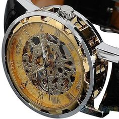 GRHOSE Classic Mens Black Leather band Skeleton Mechanical Sports Army Wrist Watch cool  Pls wind watch when received Black >>> Click image to review more details.