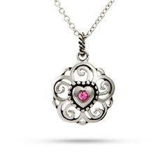 Vintage Filigree Swirl Heart Custom Birthstone Pendant