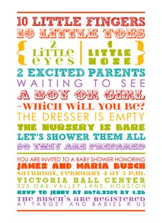 Rainbow Baby Shower Invitation  colorful words by miragreetings, $14.00
