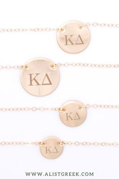 Shop the perfect Kappa Delta necklace from www.alistgreek.com. The cutest engraved Greek letter necklace the makes a statement on its own and looks even cuter in a trendy necklace layer.#circle #disc #necklace #sororitynecklace #customgift #personalized #handmade #custom #sororityjewelry #greekletters #sororityletters #loveyourletters #bidday #biglittle #kd #kaydee #kappadelta
