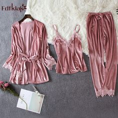 Fdfklak Sexy 3 pieces pajamas for women long sleeve winter pyjama suit gold velvet warm pajama set sweet lace sleepwear clothes - Loungewear - Ideas of Loungewear Pyjama Sexy, Satin Pyjama Set, Satin Pajamas, Pajama Outfits, Pajama Suit, Slep Dress, Pijamas Women, Cute Sleepwear, Cute Pajamas