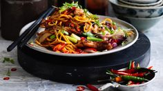 Kylie Kwong's stir-fried Hokkien noodles with chicken, chilli and coriander