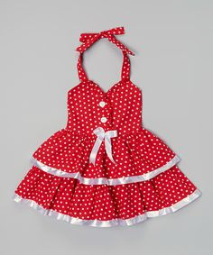Look at this Lele for Kids Red & White Polka Dot Halter Dress - Toddler & Girls on #zulily today!