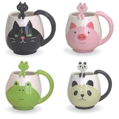 This cute & unique mug cup and spoon setfromDecole Japanis great for anybody looking to brighten up their kitchen cupboards or lunch break! Choose from 4 different characters!