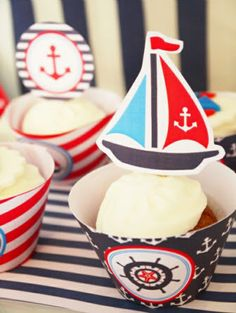 Nautical Party Cupcakes with printable sailboat toppers!