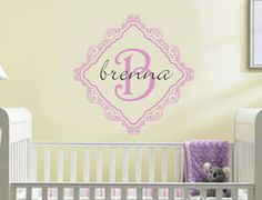 Baby Girl Name Wall Decal Nursery Monogram by AllOnTheWall on Etsy, $25.00