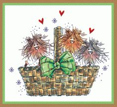 Kitty Basket Card - these would be the medium size frazzle cat