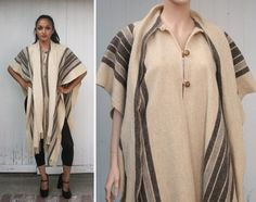 Vintage Wool Striped Poncho Cape Coat Shawl by FancyBantam on Etsy