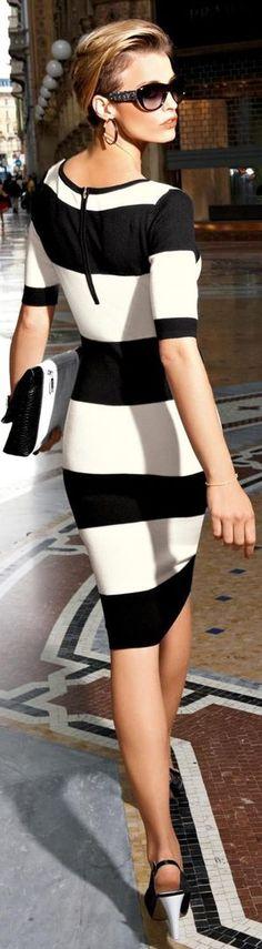 Fashion ● On The Street black and white striped dress/ fall autumn women fashion outfit clothing style apparel closet ideas White Fashion, Look Fashion, Fashion Beauty, Womens Fashion, Fashion Trends, Stripes Fashion, Skirt Fashion, Fashion News, Fashion Dresses