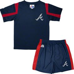 Atlanta Braves Toddler Navy Double Up T-Shirt and Shorts Combo Pack 3T