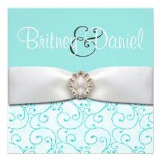 Blue Wedding Invitations with ribbon