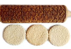 """You can use the engraved beechwood rolling pin to carve magnificent patterns in dough, icing, chocolate and modelling paste.  Product specification: Total length: 38cm/14.9"""" Working length:..."""