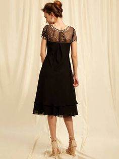 Mother of the Bride Dresses Tea Length | ... Short Sleeve Black Beading Tea Length Mother of Groom and Bride Dress