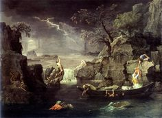 "Nicolas Poussin:  The Deluge (Winter), 1660-64, oil on canvas, 3'10"" x 5'3"" - The Louvre."