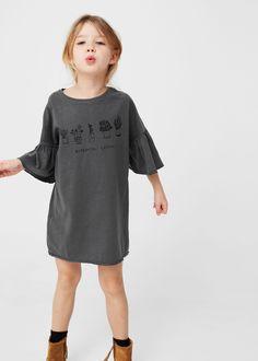 Vestido algodão manga boca de sino -  Criança   MANGO Kids Portugal