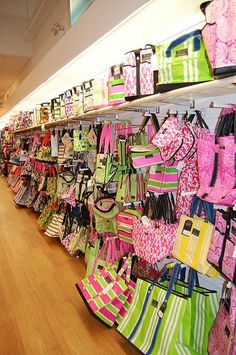 Dream wall of Scout bags and totes