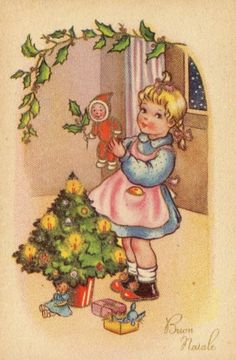 Old Christmas Post Cards —  Vintage, 1954  (458x700)