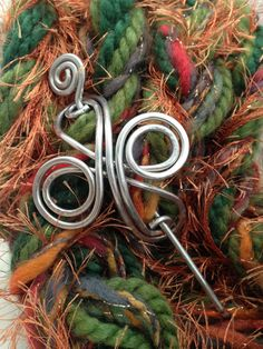 Hammered Aluminum Wire Celtic Shawl Pin Scarf Pin by soulfuljewels, $14.00