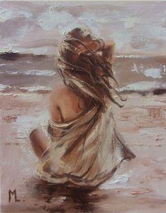 Monika Luniak - Paintings for Sale Modern Art Paintings, Buy Paintings, Watercolor Paintings, Paintings Of Hands, Oil Painting Flowers, Art Drawings Sketches, Woman Painting, Beach Art, Portrait Art