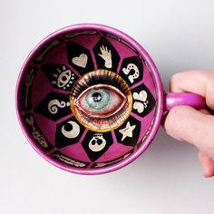 Violet Fortune Teller Teacup - mixed media on ceramic teacup