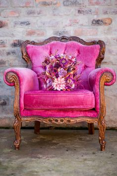 Pink Sunset & Ultra Violet Wedding Inspiration by A Dream Come True Events Funky Furniture, Painted Furniture, Hot Pink Furniture, Hot Pink Weddings, Winter Weddings, Romantic Weddings, Pink Sunset, Look Vintage, Everything Pink