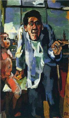 Oskar Kokoschka (Austrian, Selbstbildnis an der Staffelei [Self-portrait by Easel], 1922 Gustav Klimt, Ludwig Meidner, George Grosz, Max Beckmann, Expressionist Artists, Naive Art, Easel, Figurative Art, Painting & Drawing