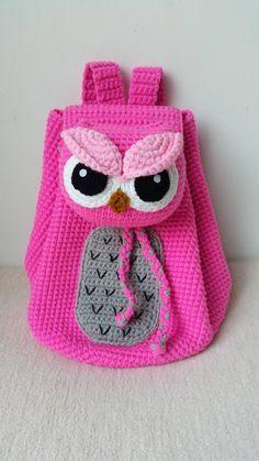 Owl Crochet Backpack birthday gift christmas by Hello Kitty Crochet, Hello Kitty Bag, Baby Knitting, Crochet Baby, Crochet Designs, Crochet Patterns, Hello Kitty Characters, Mochila Crochet, Owl Bags