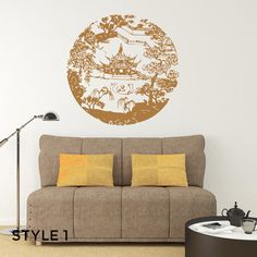 Metallic Chinese Landscape Architecture WALL by AmericanDecals