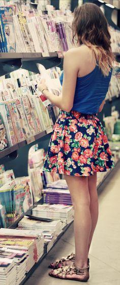 short floral skirt + bronze gladiators