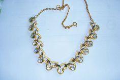 Trifari Clear Rhinestone Gold Tone Necklace  19 x by sanibelsands