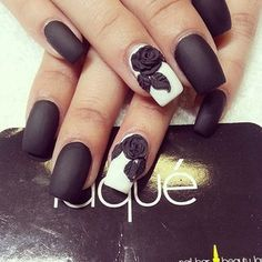Black nails, white ring fingers with 3D black roses