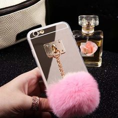2015 Newest Mirror Cute Fur Ball Tassels Phone Cases Cover For iphone 6 6S 4.7 inch Soft case ASJK1239 #clothing,#shoes,#jewelry,#women,#men,#hats,#watches,#belts,#fashion,#style