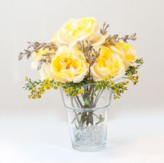 Silk Rose Arrangement with Wild Weed Spray Artificial Flowers in Glass Vase for Artificial Faux Arrangement Home Decor on Etsy, $55.00