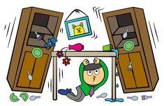 During earthquake. A man hiding under a table during an earthquake , Earth Science, A Table, Stock Illustrations, Clip Art, School, Jasmine, Vectors, Teacher, Image