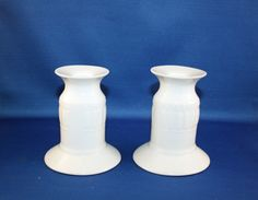 White Bisque Candlestick Pair set of 2 ceramic candle sticks by KattsCurioCabinet on Etsy