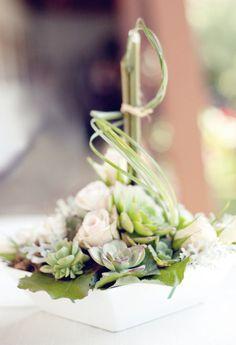 Succulents, Roses, Bamboo, Beargrass reception wedding flowers,  wedding decor, wedding flower centerpiece, wedding flower arrangement, add pic source on comment and we will update it. www.myfloweraffair.com can create this beautiful wedding flower look.