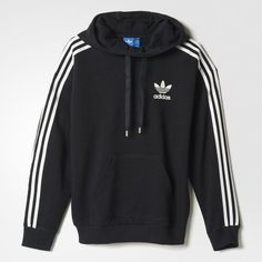 adidas 3-Stripes Hoodie (£30) ❤ liked on Polyvore featuring tops, hoodies, jackets, sweat shirts, striped hoodie, striped top, hooded pullover and hoodie sweat shirt