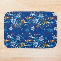 Blue Bath Mat, Bath Mat Design, Shooting Stars, Star Patterns, Colorful Backgrounds, Duvet Covers, My Arts, Art Prints, Printed