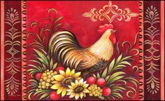 Toland Standard Mat Fall Rooster  welcome rug NEW Autumn