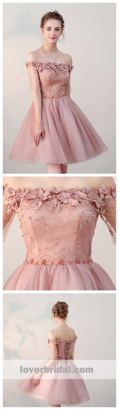 Dusty Pink Off Shoulder Short Sleeves Cheap Homecoming Dresses 2018, CM546 #homecomingdresses