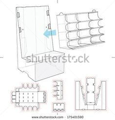 Product Display Stand with Shelf Compartments and Blueprint Layout - stock vector