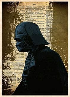 Darth Vader profile done in Splatter ink style. These unique and original artwork are printed on authentic vintage early 1900's dictionary paper from books i ha