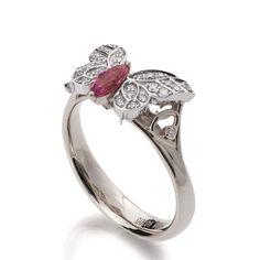Butterfly Engagement Ring 18K White Gold by DoronMeravWeddings