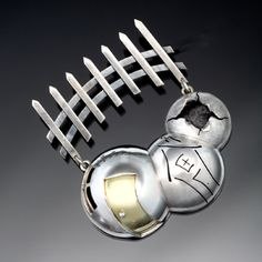"""Leslie MacInnes, 2007 """"And Then... The Bubble Burst"""" Brooch in sterling silver and 18k yellow gold. 2 x 2 x 0.5"""""""