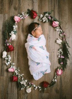 Baby ... Encircled With Beautiful Flowers