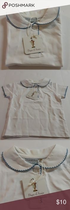 Papo d' Anjo Girl White Polo Papo d' Anjo Girl White Polo with Turquoise trim. 100% Cotton. Made in Portugal. NWT Size 12m Papo d'Anjo Shirts & Tops Polos