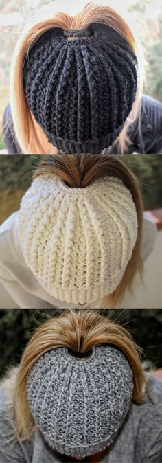 Textured Messy Bun Pattern using double crochet. Step-by-Step pattern. Bonnet Crochet, Crochet Beanie, Crochet Baby, Free Crochet, Knitted Hats, Knit Crochet, Crochet Messy Bun Hats, Crotchet, Crochet Hat Ponytail