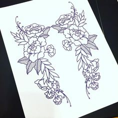 """""""a symmetrical floral piece that would be great on a upper back or done individually…"""" Back Tattoo Women Upper, Back Of Leg Tattoos, Upper Thigh Tattoos, Leg Tattoos Women, Back Of Thigh Tattoo, Cute Tattoos, Flower Tattoos, Body Art Tattoos, Tattoo Drawings"""
